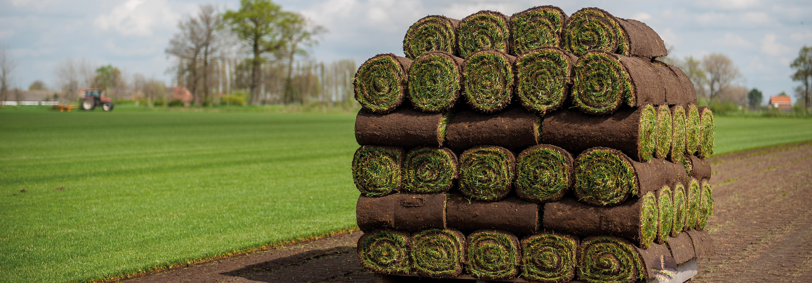 Stapel opgerolde graszoden